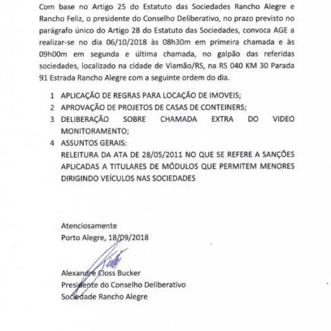Edital da Assembleia Geral Extraordinária de 06/10/2018