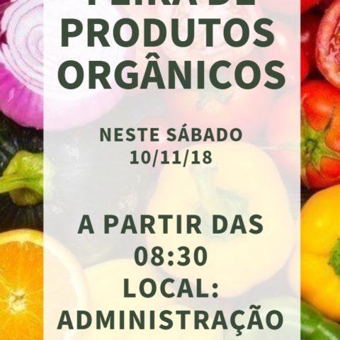 Feira de produtos orgânicos dia 10 de novembro