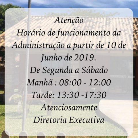 Horário de funcionamento da Administração